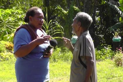 Elizabeth Sade interviewing an elder from Areare