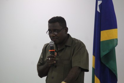Prime Minister Gordon Darcy Lilo addressing guests at a prayer breakfast on 21 January 2014. Photo: Courtesy of Government Communications Unit.