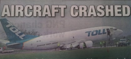 The toll aircraft that collapsed at the Honiara International Airport, preventing all international flights in an out of Honiara. Photo: Courtesy of Solomon Star newspaper