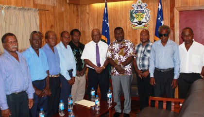 PM Lilo and Sir Allan Kemakeza flanked by members of the Savo House of Chiefs at the Prime Ministers Office on Friday. Photo: GCU