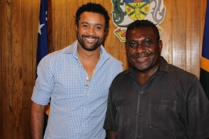 Prime Minister Gordon Darcy Lilo of Solomon Islands meeting reggae rapper sensation Shaggy. Photo: OPMC