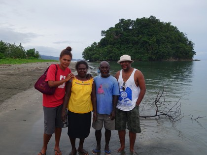 Left-to-right, Miriam Basia, two elders from Susuka village and Leni Dalavera