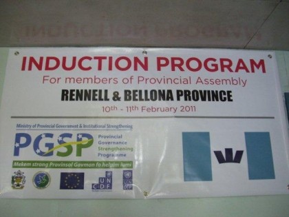 A PGSP project sign board at the Renbel Provincie. Photo: Courtesy of VSA New Zealand.