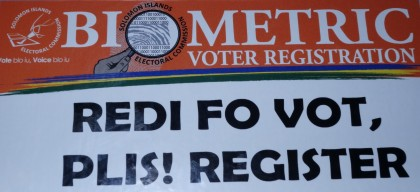 A sticker that will shortly be used by the Electoral Commission during the registration exercise. Photo: SIBC