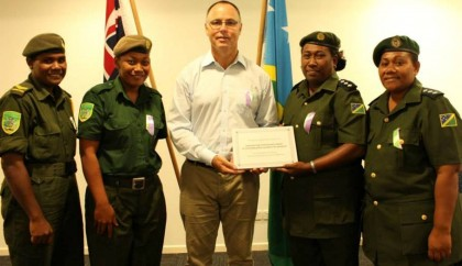 CSSI Women's Network members awarded OZ's 2014 IWD award. Photo: Courtesy of Australia in Solomon Islands  Facebook page