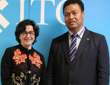 Foreign Minister Clay Forau and Executive Director of the International Trade Centre, Arancha Gonzalez. Photo: Foreign Affairs.