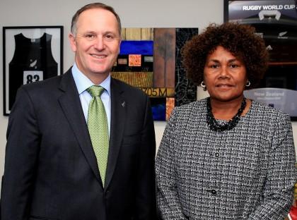 Her Excellency Joy Kere and New Zealand Prime Minister John Key. Photo: GCU