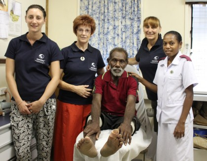 L-R Nurse Daisy Sargeant, Sister Jan Rice , a patient visiting the diabetes clinic, Podiatrist Nikki Frescos and a local nurse. Photo: Courtesy of Australian High Commission office in Honiara