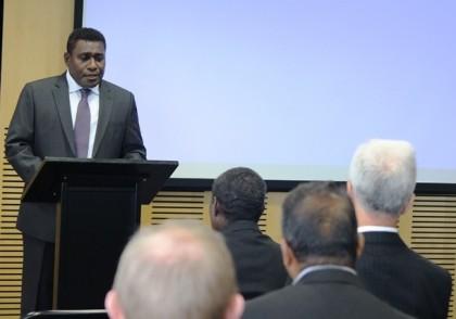 PM Lilo addressing the New Zealand Business Council yesterday. Photo: Douglas Marau.