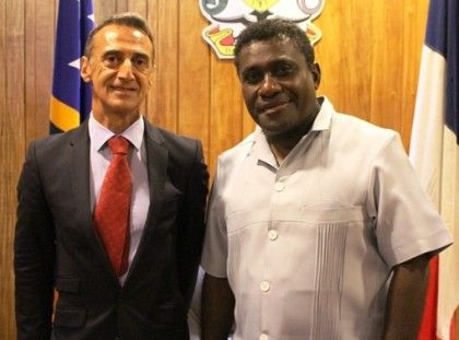 Prime Minister Lilo and the French AmbassadorHis Excellency, Mr. Pascal Maubert Photo: OPMC.