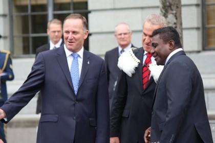 Prime Minister Lilo with New Zealand Prime Minister John Key. Photo: Douglas Marau.