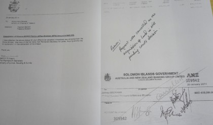 The cancelled cheque as stated by the government statement. Photo: GCU