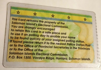 How the back of the new Voter's ID Card looks. Photo: SIBC.