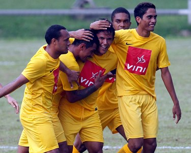 AS Pirae players celebrating their 2-1 win over Solomon Warriors. Photo credit: OFC.