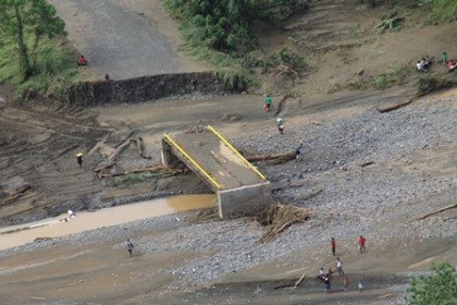 The Gold Ridge bridged was damaged by the recent floods. Photo credit: OPMC.