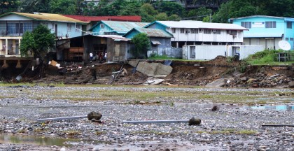 The Matanikau river days after the recent flash floods. Photo credit: SIBC.