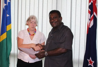 NZ high commissioner to SI presents her letters of introduction to PM yesterday. Photo credit: OPMC.