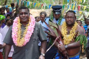 Prime Minister Gordon Darcy Lilo accompanied by his Deputy to the East Malaita Economic Growth Centre. Photo: Courtesy of PMC.