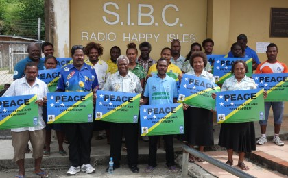 SIDT staff members at The Iumi Tok Abaotim Peace team at its launching. Photo: SIBC.