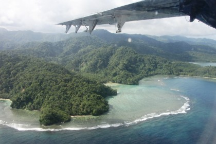 The team spent more than two hours conducting an aerial assessment of the Makira coastline. Photo credit: Australia in Solomon Islands.