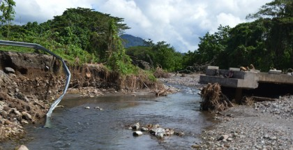 A bridge destroyed in West Guadalcanal during the 2014 April floods. Photo credit: SIBC.