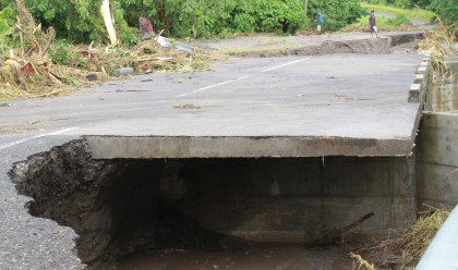 A bridge in West Guadalcanal destroyed by the recent floods. Photo credit: SIBC.