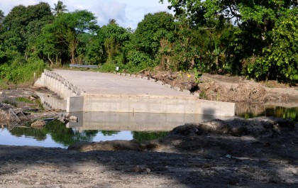 One of the damaged bridges in West Guadalcanal. Photo credit.