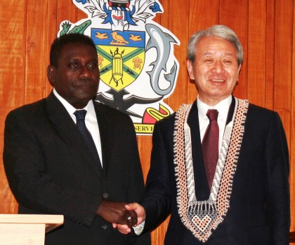 JICA President with PM Lilo during the visit. Photo credit: GCU.