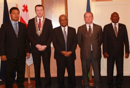 (L-R) Foreign Minister Clay Forau, Ambassador Vladimer Konstantinidi, Sir Allan Kemakeza, a Georgian Official and PS Foreign Affairs Beraki Jino at Government House. Photo credit: GCU.
