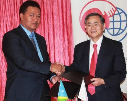 Minister Forau and Ambassador Kenichi Kimiya today. Photo credit: GCU.