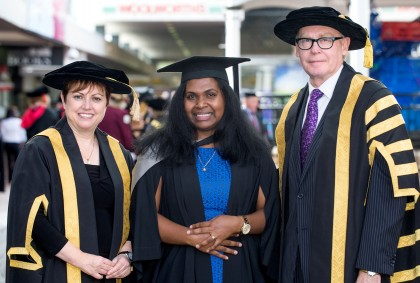 Miss Fuo'o with the University's Vice-Chancellor Professor Jan Thomas (left) and the Chancellor Mr John Dornbusch. Photo credit: USQ.