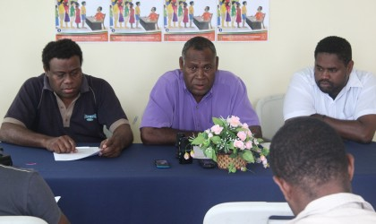 Chief Electoral Officer Polycarp Haununu talking to the press. Photo credit: SIBC.