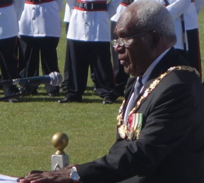 Governor General Sir Frank Ofagioro Kabui delivering his speech during Queen's Birthday celebrations yesterday in Honiara. Photo credit: SIBC.