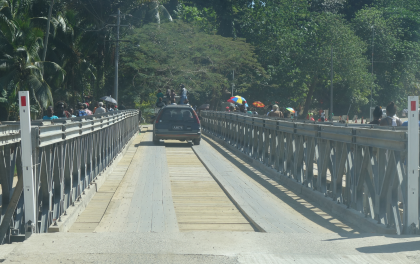 The newly installed Bailey bridge at China Town in Honiara. Photo credit: SIBC.