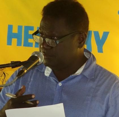 Health Permanent Secretary Dr Lester Ross making his speech. Photo credit: SIBC.