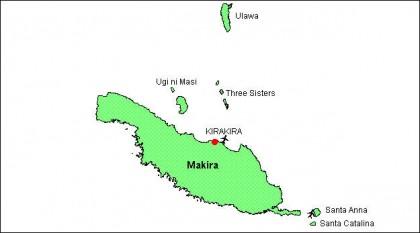 Map of Makira Ulawa. Photo credit: Commerce.