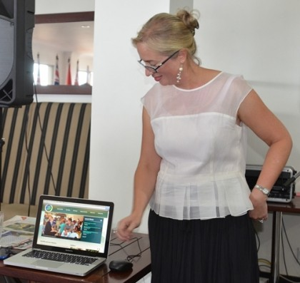 Mrs Braithwaite launching the new site. Photo credit: RAMSI.