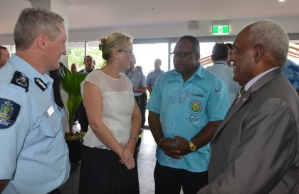 RAMSI Special Coordinator Justine Braithwaite talking to Acting Prime Minister Manasseh Maelanga in the background. Photo credit: RAMSI.