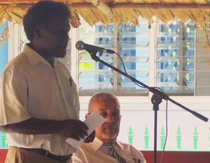 SIBC Board Chairman Loely Ngira making his speech as SIBC CEO Ashley Wickham looks. Photo credit: SIBC.