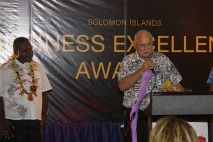 Solair Manager operations Gus Kraus at last year's business excellence awards. Photo credit: Islands Business.