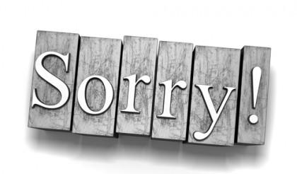 Sorry sign. Photo credit: SIBC.