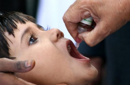 A child receiving vaccination against Polio. Photo credit: News Pakistan.