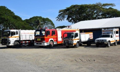 Some of the Fire and Ambulance vehicles for the RSIPF, presented by RAMSI. Photo credit: RAMSI.