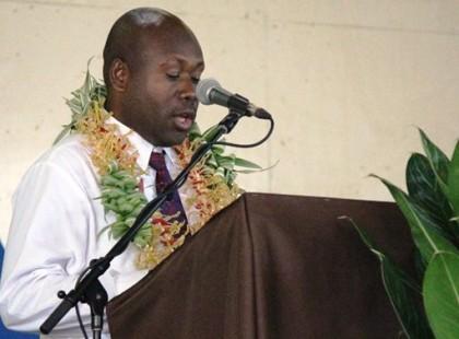 Guadalcanal Premier Anthony Veke making his remarks. Photo credit: Douglas Marau.