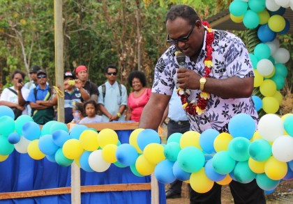 Hon Maelanga cuts the ribbon to declare the preparations for the Solomon Games 2016 open. Photo credit: GCU.