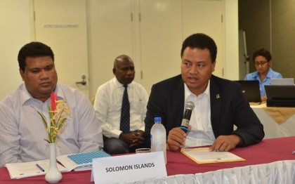 Minister of Foreign Affairs Clay Forau opening the ECM. Photo credit: RAMSI.
