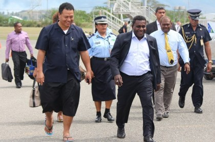 Prime Minister Gordon Darcy Lilo upon his arrival at the Honiara International airport. Photo credit: PMO.