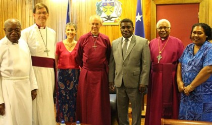 Prime Minister Gordon Darcy Lilo with the Archbishop's delegation who visited him. Photo credit: PMO.