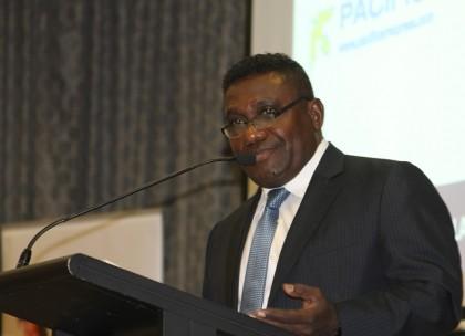 Prime Minister Lilo making his address. Photo credit: Robert Iroga.