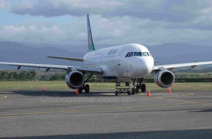 Solomon Airlines Airbus A320 at the Honiara International Airport. Photo credit: SIBC.